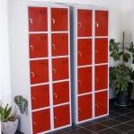 Förvaringsskåp, röd/grå 8-fack 1920x700x550