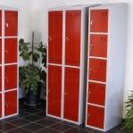 Förvaringsskåp, röd/grå 5-fack 1920x350x550