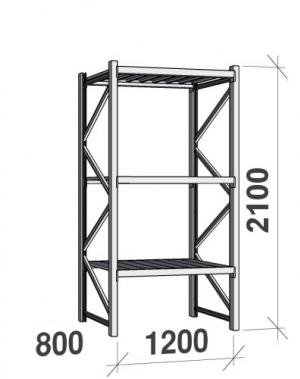Lagerhylla startsektion 2100x1200x800 600kg/hyllplan,3 hyllor