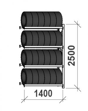 Däckställ följesektion 2500x1400x500, 4 hyllplan,600kg/plan