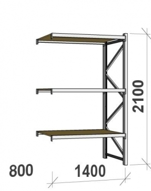 Extension bay 2100x1400x800 600kg/level,3 levels with chipboard