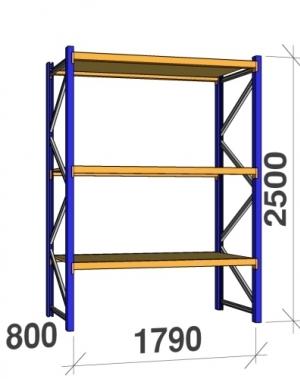 Startsektion 2500x1790x800 360kg/hyllplan,3 hyllor, spånskiva