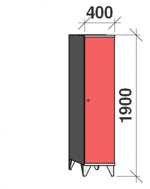 Locker 2x400, 1900x400x545, long door