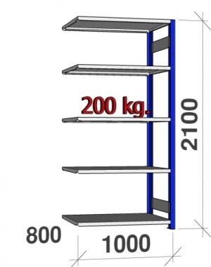 Lagerhylla följesektion 2100x1000x800 200kg/hyllplan,5 hyllor, blå/galv