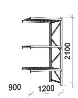 Lagerhylla följesektion 2100x1200x900 600kg/hyllplan,3 hyllor