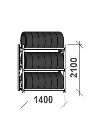 Däckställ startsektion 2100x1400x500, 3 hyllplan,600kg/plan