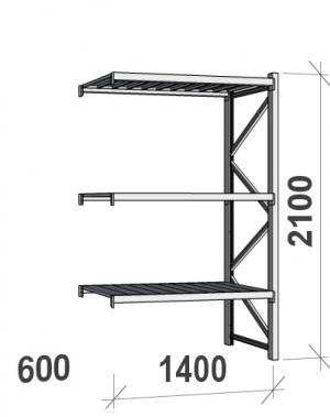 Lagerhylla följesektion 2100x1400x600 600kg/hyllplan,3 hyllor