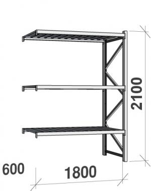 Lagerhylla följesektion 2100x1800x600 480kg/hyllplan,3 hyllor