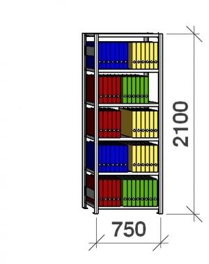 Arkivhylla startsektion 2100x750x400 200kg/hyllplan,6 hyllor