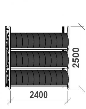 Däckställ startsektion 2500x2400x500, 3 hyllplan,300kg/plan