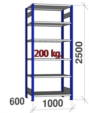 Lagerhylla startsektion 2500x1000x600 200kg/hyllplan,6 hyllor, blå/galv