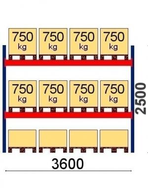 Pallställ startsektion 2500x3600 750kg/12 pallar OPTIMA