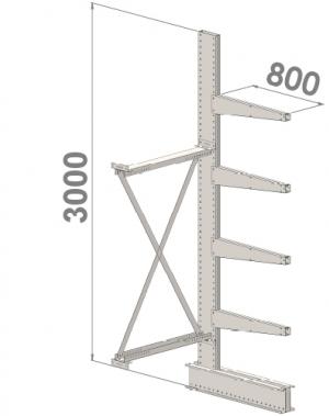 Grenställ följesektion 3000x1000x800,4 x arm