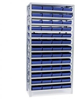 Backhylla 2100X1000X300 mm, 52 plastlådor 300x240x95 mm
