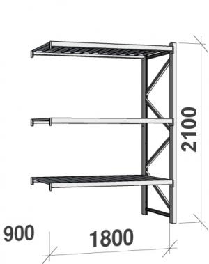 Lagerhylla följesektion 2100x1800x900 480kg/hyllplan,3 hyllor