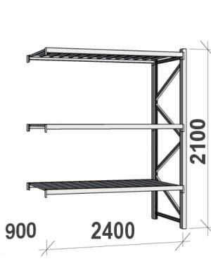 Lagerhylla följesektion 2100x2400x900 300kg/hyllplan,3 hyllor