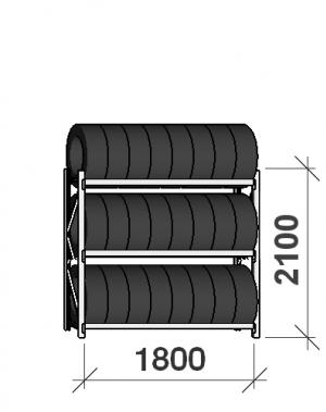 Däckställ startsektion 2100x1800x500, 3 hyllplan,480kg/plan