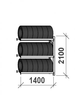 Däckställ följesektion 2100x1400x500, 3 hyllplan,600kg/plan