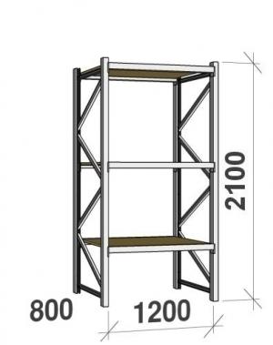 Lagerhylla startsektion 2100x1200x800 600kg/hyllplan,3 hyllor, spånskiva
