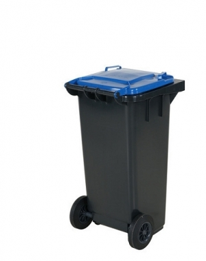 Avfallskärl 120L, svart/blå