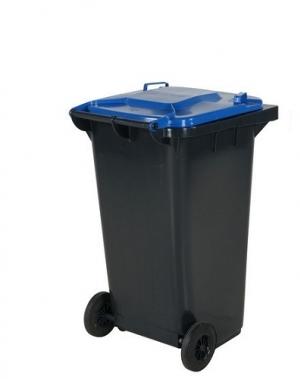 Avfallskärl 240L, svart/blå