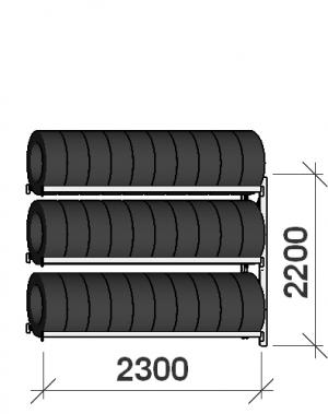 Däckställ följesektion 2200x2300x500, 3 hyllplan
