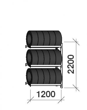 Däckställ följesektion 2200x1200x500, 3 hyllplan