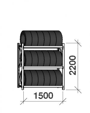 Däckställ startsektion 2200x1500x500, 3 hyllplan