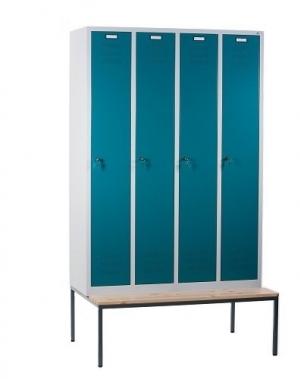 Klädskåp med bänk, 4 dörrar, 1190x810x2090mm