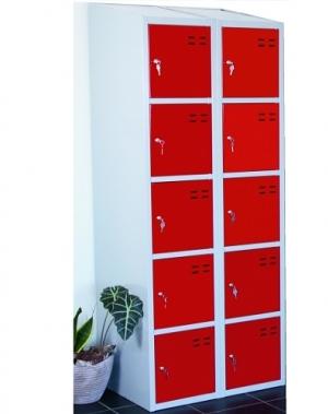 Förvaringsskåp, röd/grå 10-fa 1920x700x550