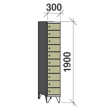 Klädskåp, 10 dörrar, 1900x300x545 mm