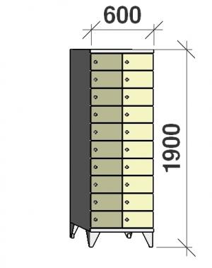 Klädskåp, 20 dörrar, 1900x600x545 mm
