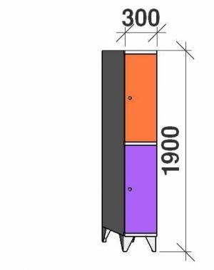 Klädskåp, 2 dörrar, 1900x300x545 mm