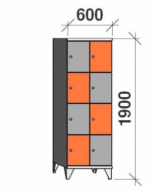 Klädskåp, 8 dörrar, 1900x600x545 mm