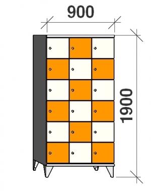 Klädskåp, 18 dörrar, 1900x900x545 mm