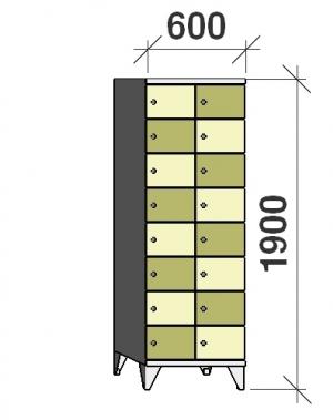 Klädskåp, 16 dörrar, 1900x600x545 mm