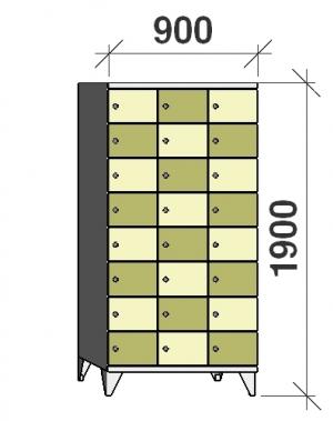 Klädskåp, 24 dörrar, 1900x900x545 mm