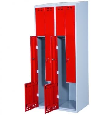 Klädskåp, röd/grå 4 d/Z-modell 1920x800x550