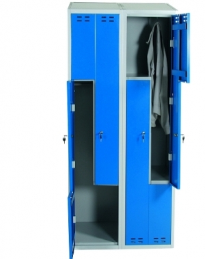 Klädskåp, blå/grå 4 d/Z-modell 1920x800x550