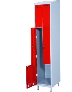Klädskåp, röd/grå 2 d/Z-modell 1920x400x550