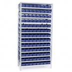 Backhylla 2100X1000X300 mm, 104 plastlådor 300x120x95 mm