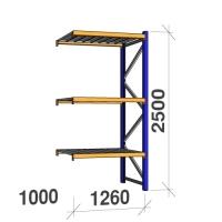 Följesektion 2500x1260x1000 450kg/hyllplan 3 hyllor, zinkplåt