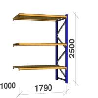 Följesektion 2500x1790x1000 360kg/hyllplan 3 hyllor, spånskiva