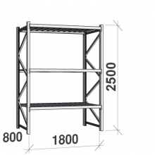 Lagerhylla startsektion 2500x1800x800 480kg/hyllplan,3 hyllor