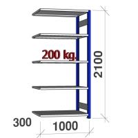 Lagerhylla följesektion 2100x1000x300 200kg/hyllplan,5 hyllor, blå/galv
