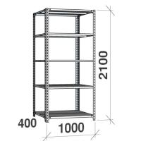 Metallhylla 2100x1000x400, 5 hyllor, 120kg/hyllplan, grå Gavel/Hyllplan galvad
