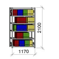 Arkivhylla startsektion 2100x1170x400 150kg/hyllplan,6 hyllor