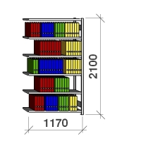 Arkivhylla följesektion 2100x1170x400 150kg/hyllplan,6 hyllor