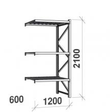 Lagerhylla följesektion 2100x1200x600 600kg/hyllplan,3 hyllor