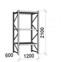 Lagerhylla startsektion 2100x1200x600 600kg/hyllplan,3 hyllor